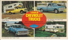 Trucks 4 models, US postcard, standard size, 1969