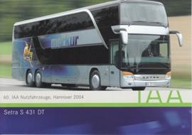 Setra S 431 DT Autobus, A6-size postcard, IAA Hannover 2004