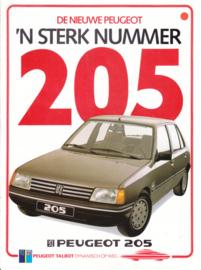 205 Hatchback intro folder, 4 pages, A4-size, 1984, Dutch language