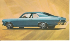 Chevy II Nova Coupe, US postcard, standard size, 1968