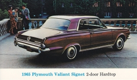 Valiant Signet 2-Door hardtop, US postcard, standard size, 1965
