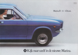 Marina II 1.3 4-Door Super de Luxe brochure, 8 pages, A4-size, 1976, Dutch language