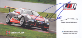 911 Carrera Cup with driver Dennis Olsen, signed, oblong postcard, issued about 2016