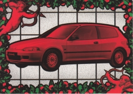 Civic Joker Hatchback, Swiss postcard, DIN A6, about 1992