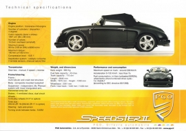 Speedster II Techn. Specifications and Equipment, large sheet, about 2010, English language