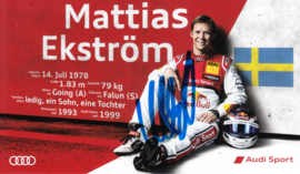 Racing driver Matthias Ekström, signed postcard 2015 season, German language