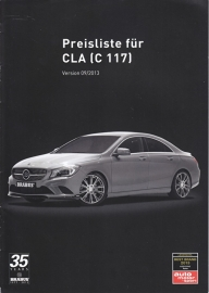 CLA Brabus tuning pricelist brochure. 12 pages, A4-size, 09/2013, German language