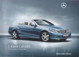 E-Class Convertible pricelist brochure, 36 pages, 01/2010, German language
