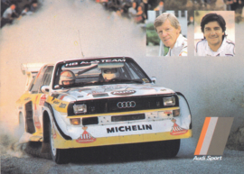 Sport quattro with Walter Röhrl & Christian Geistdorfer, DIN A6 postcard,  German, about 1985