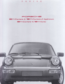 911 Carrera models pricelist brochure, 12 pages, 07/1990, German language