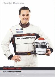 racing driver Sacha Maassen,  A6 postcard, about 2009,  English language