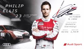 Racing driver Philip Ellis, signed postcard 2016 season, English language
