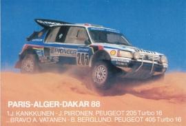 205 Turbo 16 Paris-Alger-Dakar 1988, A6-size sticker postcard