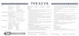 S3 V8 specs. & prices, 2 pages, German language, 1992, Switzerland *