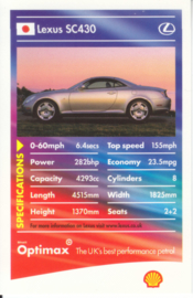 Lexus SC430 collector card, small size,  Shell Optimax issue, 2002, UK