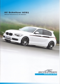 1-Series ACS1 Hatchback by AC Schnitzer, A4-size brochure,  8 pages, 09/2013, German language