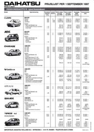 Program pricelist leaflet, 2 pages, 09/1997, A4-size, Dutch language