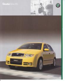 Fabia RS brochure, 4 pages, Dutch language, 09/2003