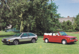 VW Golf Cabriolet & Scirocco by Karmann,  A6-size postcard, early 1990s, German