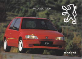 106 Rallye brochure, 6 pages, 12/1993, French language (Belgium)