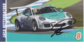 911 Carrera Cup with driver Luca Rettenbacher, signed, oblong postcard, issued about 2016