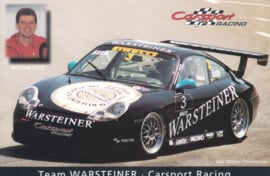 911 Carrera Cup with driver Roland Asch,  A6 postcard, about 2002,  German language