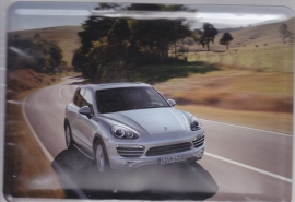 Porsche Cayenne, metal postcard with white envelope, factory-issued