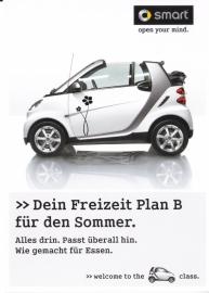 Fortwo Cabrio postcard, DIN A6-size, Publicity freecard, German language
