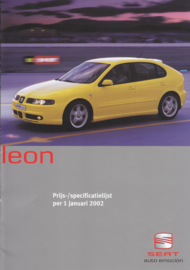Leon prices & specs. brochure, 10 pages, 01/2002, Dutch language