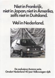 Avance series brochure, 12 pages,  A4-size, Dutch language, 1987