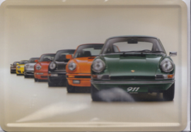 Porsche  911 historic line-up, metal postcard with white envelope, factory-issued