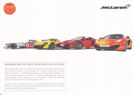 P1, 12C & F1 car picture card McLaren 50 years, 21 x 15 cm, English language