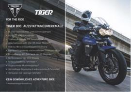 Triumph Tiger 800, A5-size doublesided sheet, German language, 2016