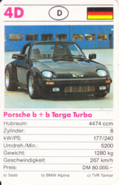 911 Targa Turbo B&B  - card 4D - size 9 x 6 cm, German language