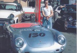 James Dean with Porsche Spyder, DIN A6-size, unused, Dutch issue, 2008