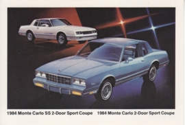 Monte Carlo SS & Sport Coupe,  US postcard, standard size, 1984