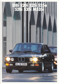 518i/520i/525i/525e/528i/535i/M535i brochure, 34 pages, A4-size, 1/1987, German language