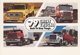 Chevy Trucks, 4 models, heavy duty, US postcard, standard size, 1979