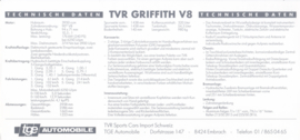 Griffith V8 specs. & prices, 2 pages, German language, 1992, Switzerland *