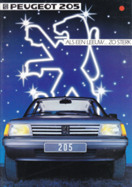 205 Hatchback brochure, 8 pages, A4-size, 1984, Dutch language