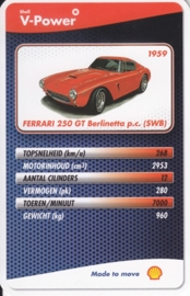 Ferrari 250 GT Berlinetta p.c. SWB 1959 collector card, small size,  Shell V-Power issue, 2007 (# 12 of 24)