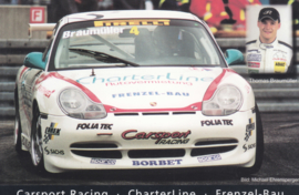 911 Carrera Cup with driver Thomas Braumüller,  A6 postcard, about 2002,  German language