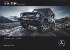 G-Klasse pricelist. 52 pages, 05/2016, German language