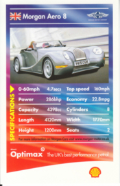 Morgan Aero 8 collector card, small size,  Shell Optimax issue, 2002, UK