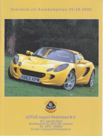 Elise reprinted roadtest report, 8 pages, DIN A4-size, 12/2000, Dutch languagenguage