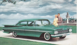 Bel Air 4-Door Sedan, Highland Green, US postcard, standard size, 1959