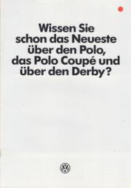 Polo/Polo Coupé/Derby, 8 pages,  A4-size, German language, 6/1984