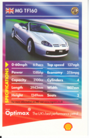 MG TF160 collector card, small size,  Shell Optimax issue, 2002, UK