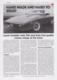 TVR factory visit report Car Choice magazine, 4 pages, English language, 8/1983 *