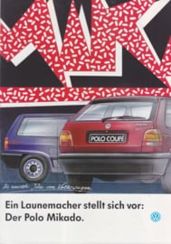 Polo 3-door & Coupe Mikado brochure, A4-size, 8 pages., 9/1992, German language